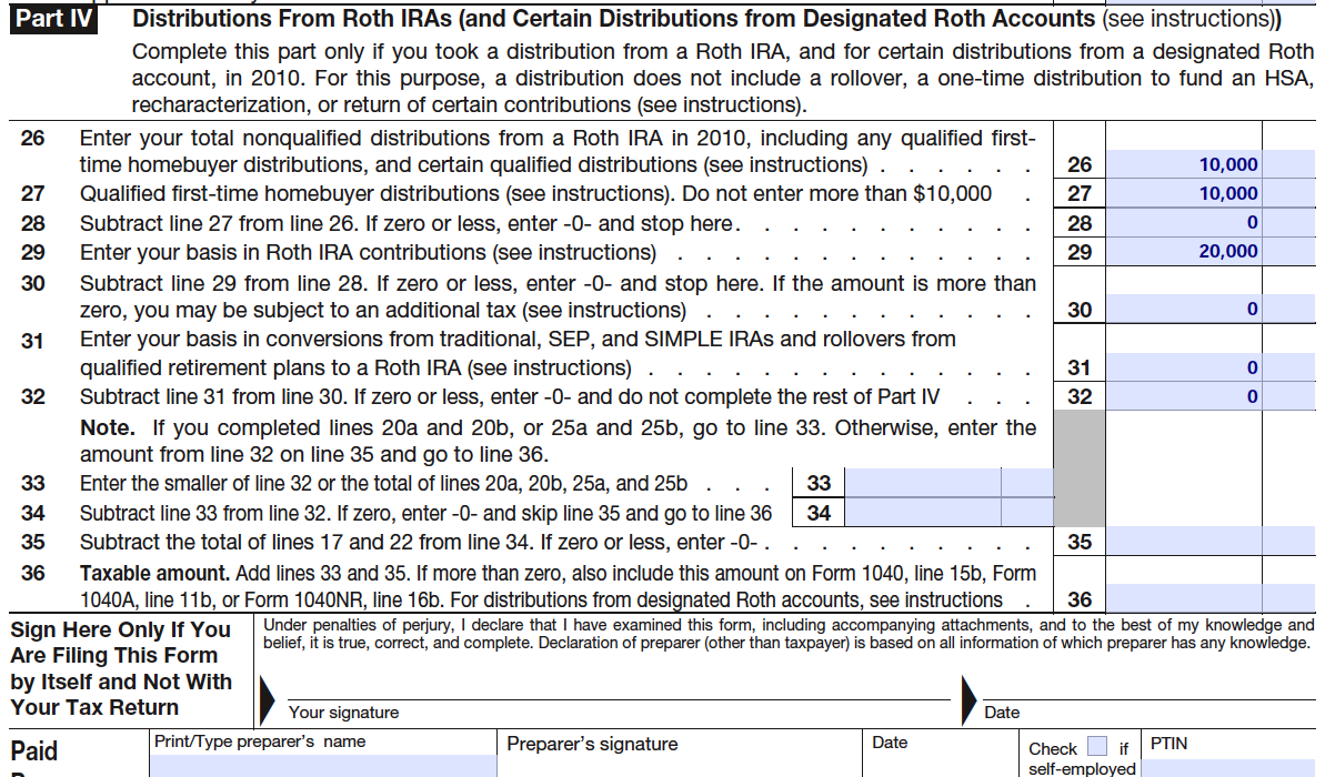 Roth ira pfblogwatchdog you can download this 2010 8606 form here the 2010 form is a little more complicated than other years because of being able to allocate taxes due on falaconquin